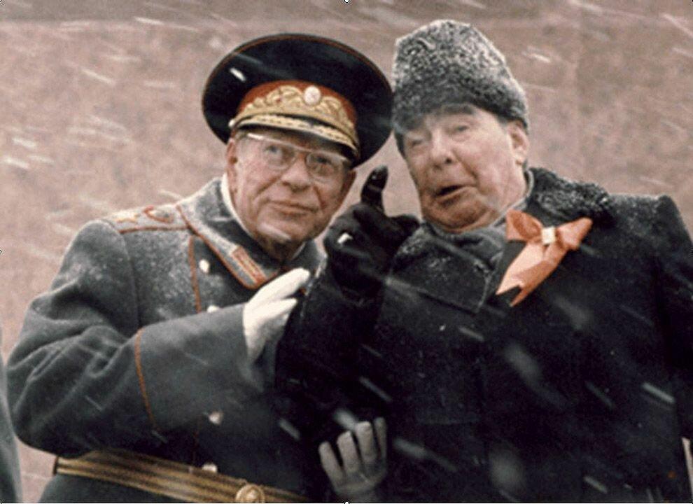 1982. Брежнев и Устинов на трибуне Мавзолея Ленина 7 ноября