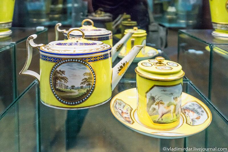 Чайник чашка с крышкой с английскими парковыми видами. Англия. Дербишир.