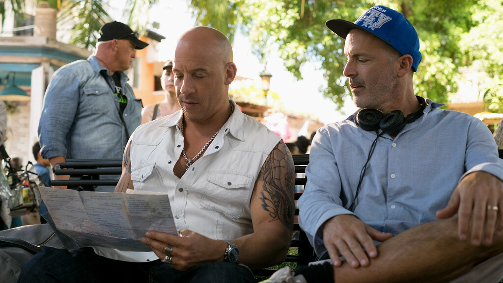 (L-R) Vin Diesel and director, D.J. Caruso on the set of the film xXx: RETURN OF XANDER CAGE by Paramount Pictures and Revolution Studios