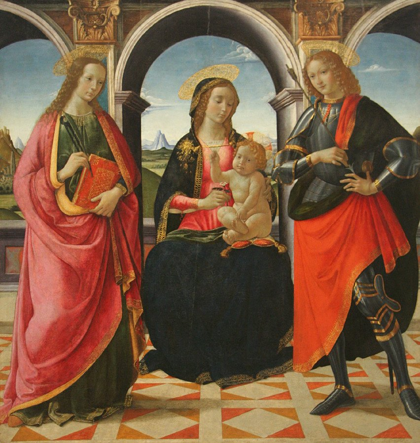 'The_Virgin_and_Child_with_Saints_Apollonia_and_Sebastian',_tempera_on_panel_painting_by_Davide_Ghirlandaio,_1490-1499,_Philadelphia_Museum_of_Art.jpg