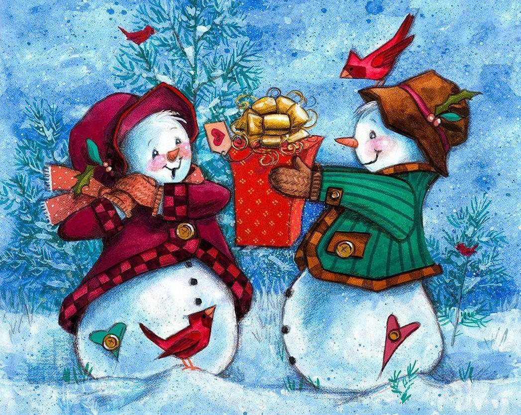 Анимационая, открытки два снеговика