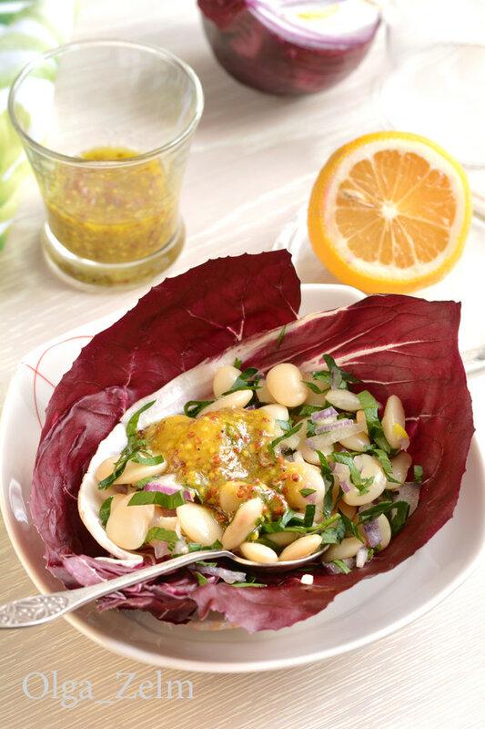 Салат из белой фасоли с редичьо