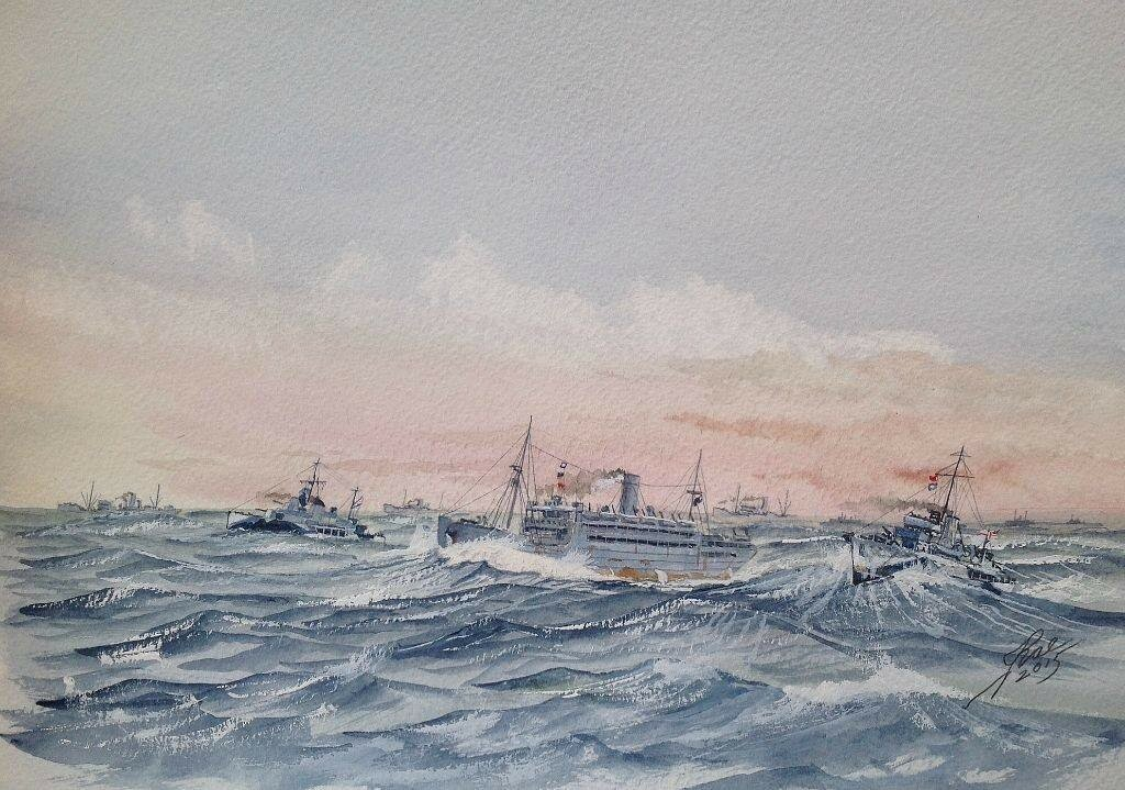 'Dervish' convoy approaching Arkhangelsk, L to R Soviet destroyer Grozny, Llansteven Castle, HMS Salamander.