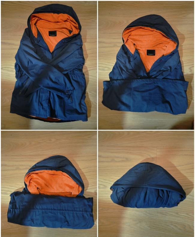 Очень удобный способ носить куртку ссобой. Таким образом она занимает меньше места иможет послужит