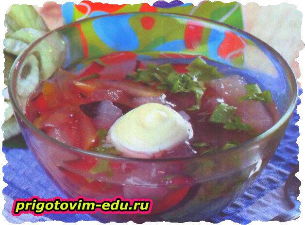 Окрошка из фруктов (дыни, сливы, яблоки, груши)