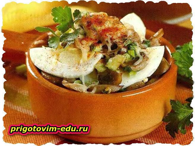 Яйца, залеченные с грибами