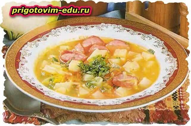 Густой суп с кольраби