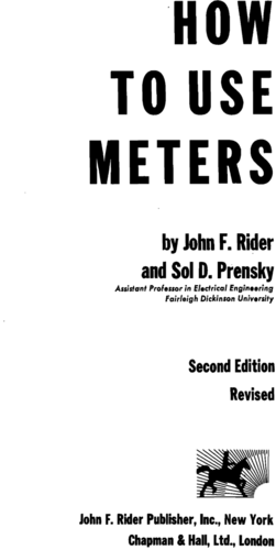 How to Use Meters - Johm F. Rider - Book Cover
