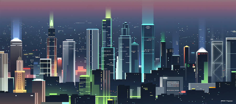 Illustrations of Cityscapes on Several Continents