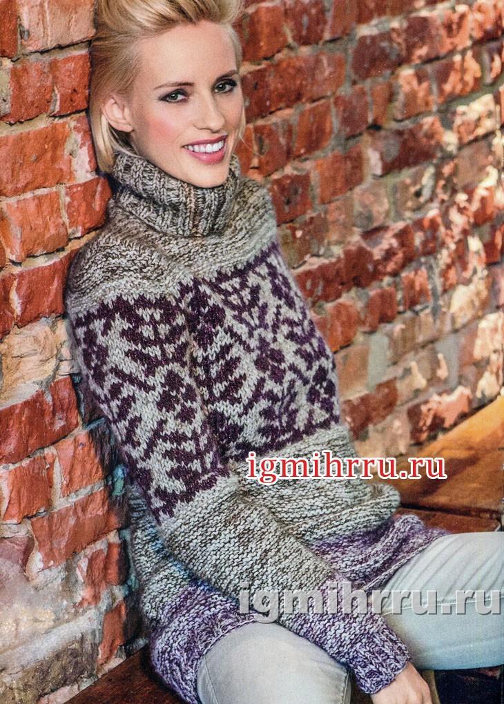 Теплый свитер с жаккардовым узором. Вязание спицами