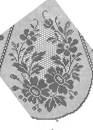 Схема скатерти, часть (филейное вязание)