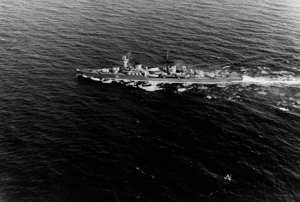 KOMSOMOLETS (Soviet light cruiser) Photographed on 6 June 1962 in the Norwegian Sea area.
