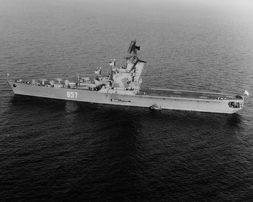 MOSKVA (Soviet Helicopter Carrier). In the Mediterranean Sea, 1968.