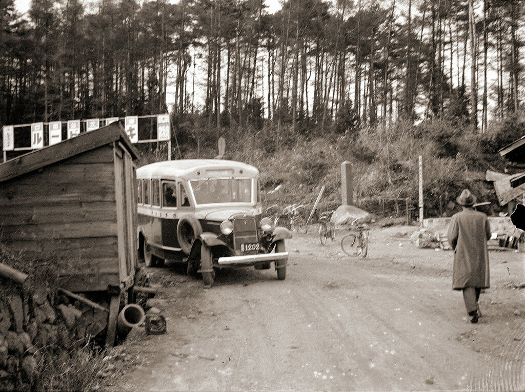 Japanese Bus on Dirt Road, 1930s Japan.