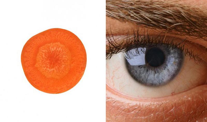 1. Морковь — глаза Нарежьте морковку пластинками немного наискосок — и увидите, насколько этот овощ