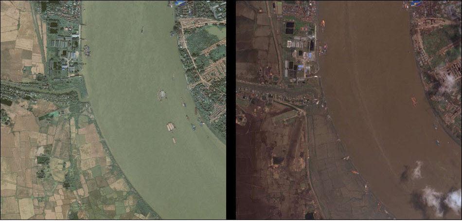 16. На реке Рангун, Мьянмар, до и после удара циклона.