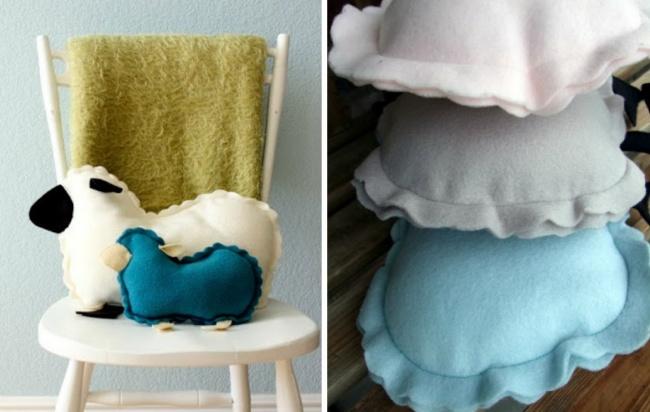 Надоели обычные подушки? Посмотрите-ка, кто это сидит настульчике! Такие милые овечки-подушки украс