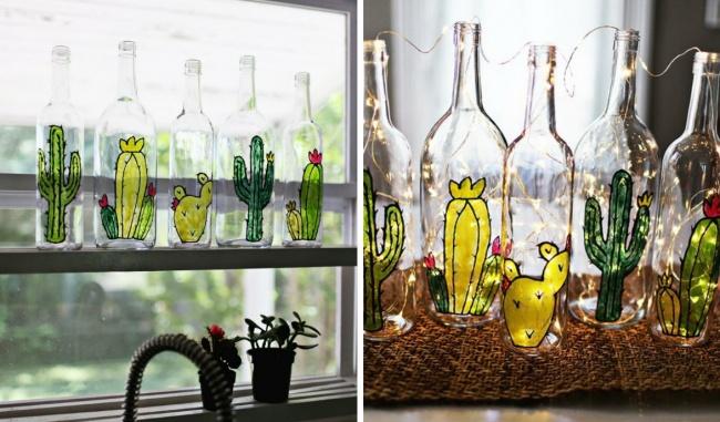 Стеклянные бутылки? Да-да, простые бутылки, специальная краска иваша фантазия. Попробуйте ивынеп