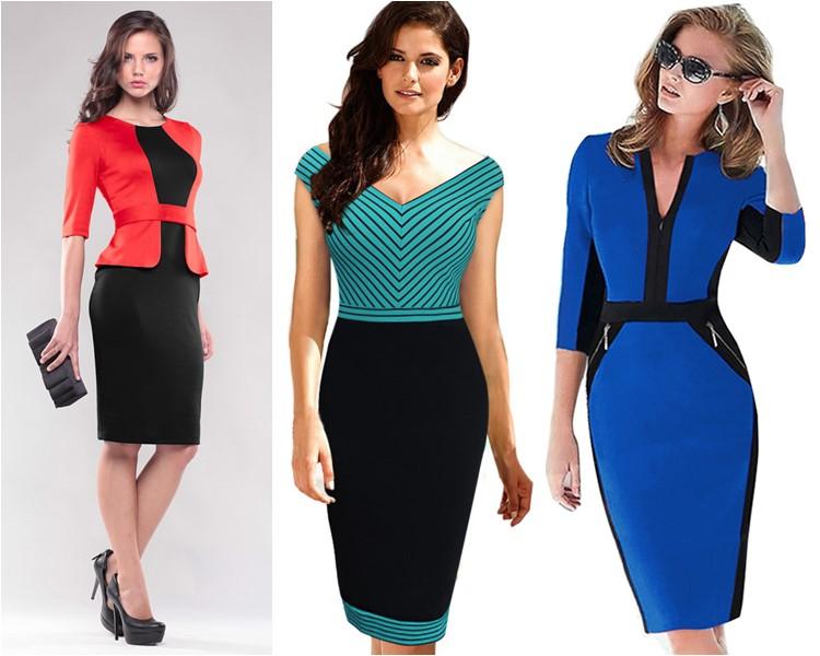 деловые платья контрастных цветов 2016