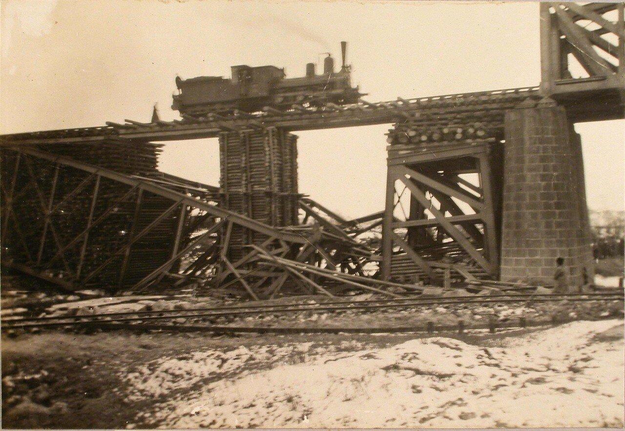 71. Пробный паровоз на восстановленном мосту. Галиция, ст. Дембица