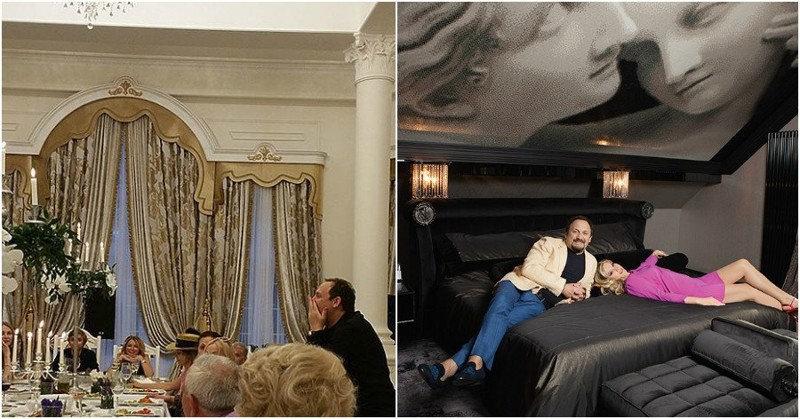 В гостиной можно увидеть большой портрет Инны. В спальне — огромное панно с двумя ангелами, обер