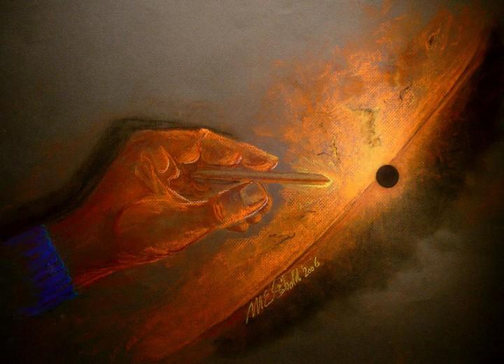 Нарисованное прохождение Меркурия по диску Солнца