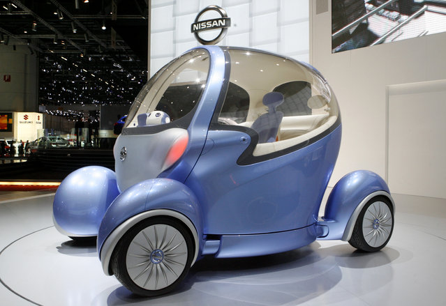 A Nissan Pivo2 concept car is displayed during the first media day of the 78th Geneva Car Show at th