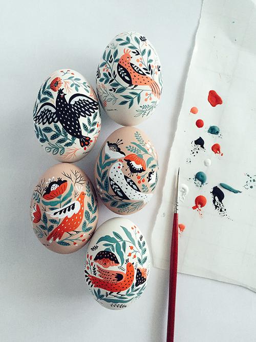 Original Birds Paintings on Easter Eggs