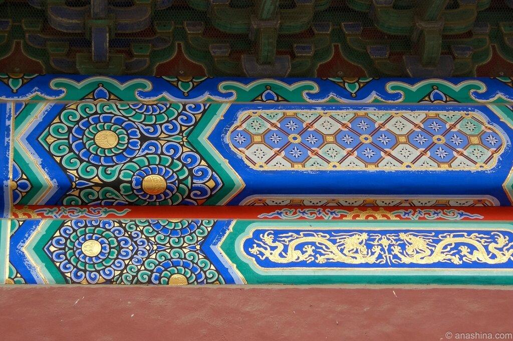 Роспись балки под крышей, Храм Императорских Предков