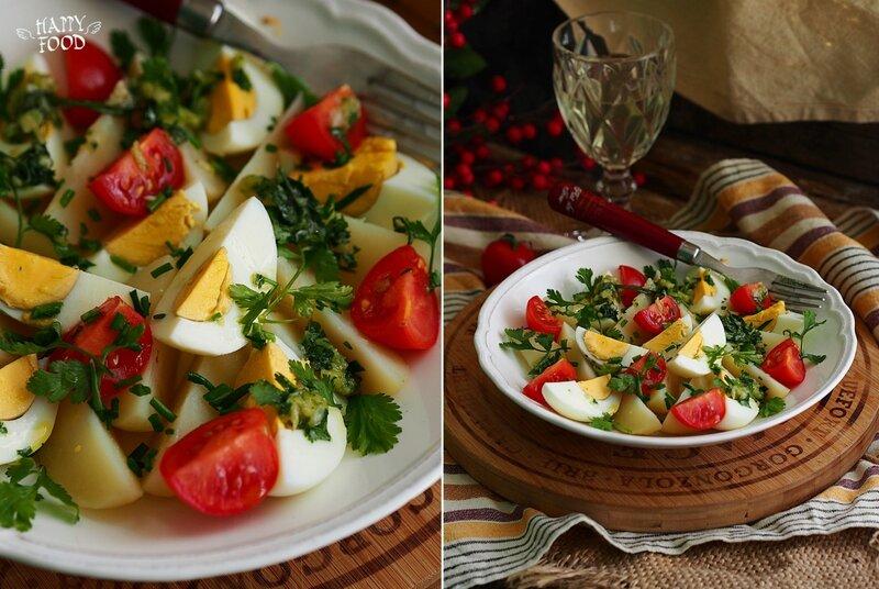 Картофельный салат с яйцами и зеленью