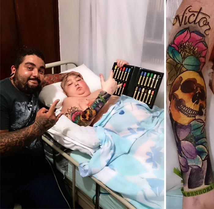 Тату-мастер исполнил последнее желание 12-летнего мальчика, раскрасив его тело цветными маркерами.