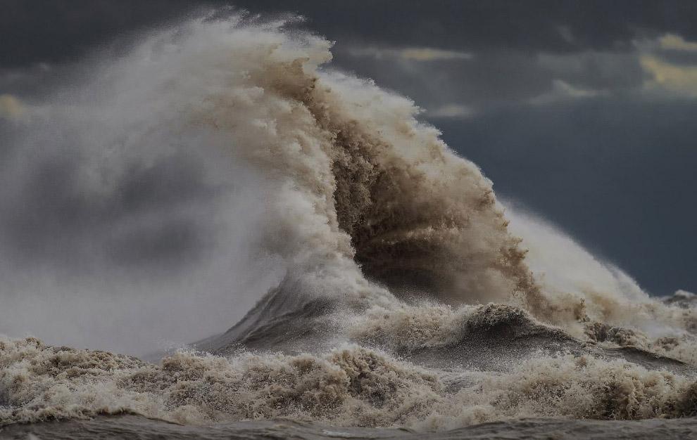 7. «Средняя температура воды — 11 градусов, высота волн в эти дни — 7-8 метров. Эри оживает, по