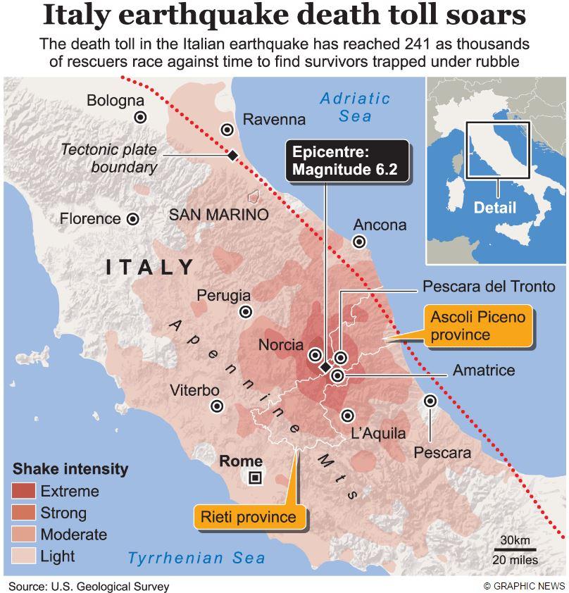 Землетрясение в Аматриче и Норча 24 августа 2016