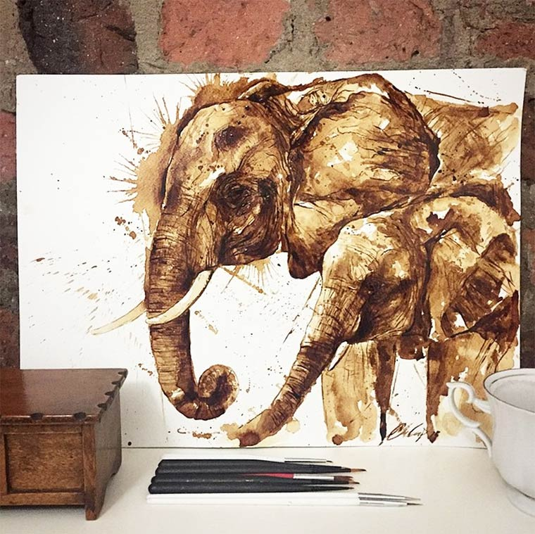 Amazing watercolors painted with coffee