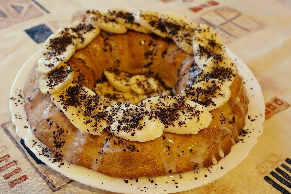 Бананово-творожный кекс