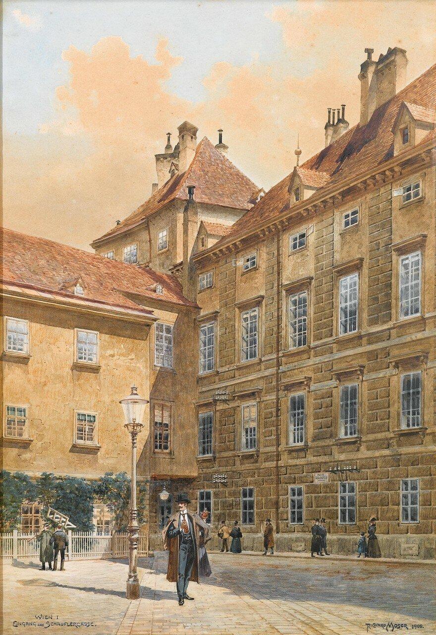 """DOROTHEUM Richard Moser (Wien 1874-1924) """"Eingang zur Schauflergasse Wien I"""""""