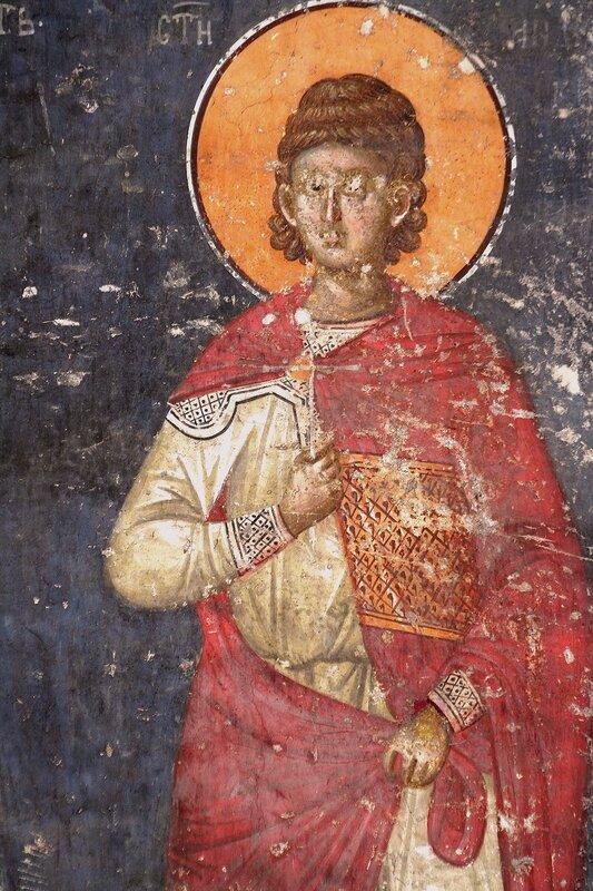 Святой мученик Андроник Тарсийский. Фреска монастыря Грачаница, Косово, Сербия. Около 1320 года.