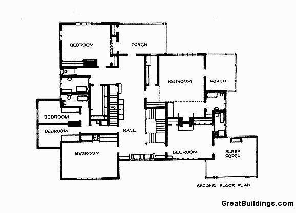 Дом Гембл, план 2-ого этажа