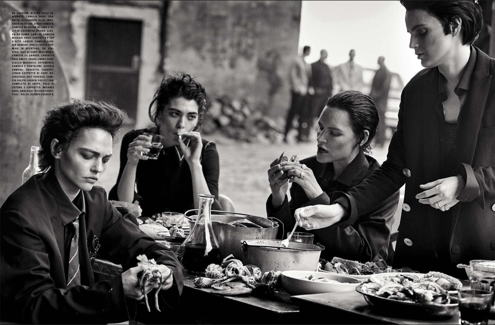 Sasha Pivovarova, Guinevere Van Seenus, Steffy Argelich, Kirsten Owen / Lunch in Brooklyn by Peter Lindbergh in Vogue Italia may 2015
