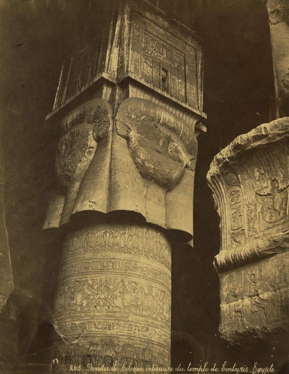 Дендера. Внутренняя колонна храма Хатхор