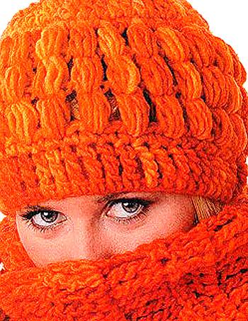 Оранжевое Настроение - зимняя шапка вязаная крючком.