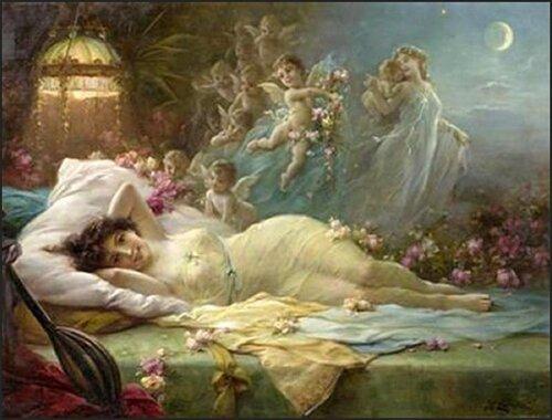 Девушка, Венера и Амурчики.   Ханс Цацка.