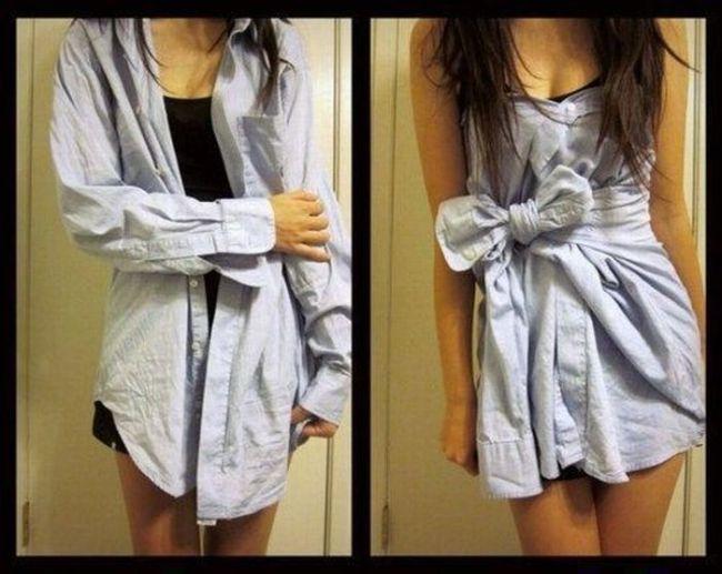 Как завязать рубашку как платье