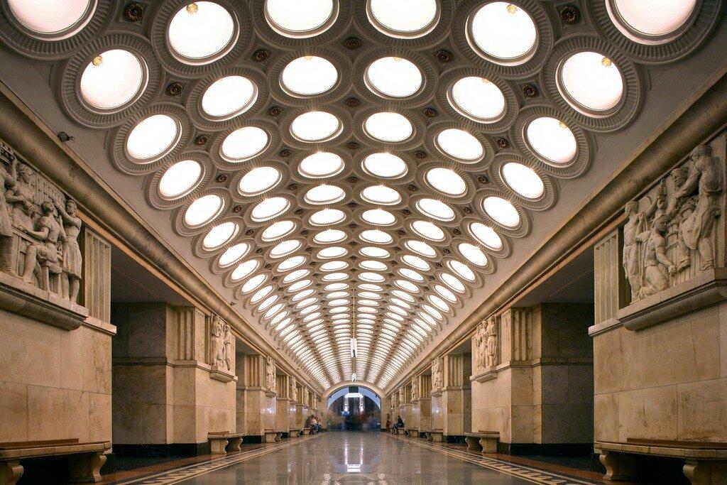 V. G. Gelfreikh, I. E. Rozhin, Elektrozavodskaia Metro Station, Moscow. Opened in 1944