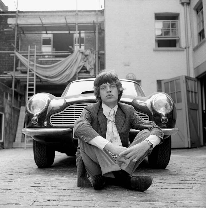 Mick Jagger & Aston Martin Car by Gered Mankowitz