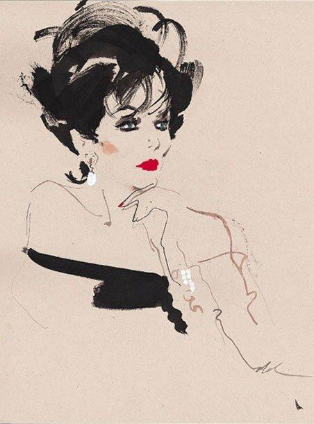 fashion illustrations by David Downton.Joan Collins