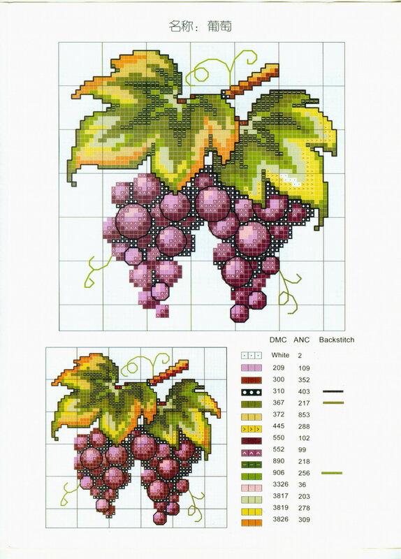 схема вышивки крестом виноград.