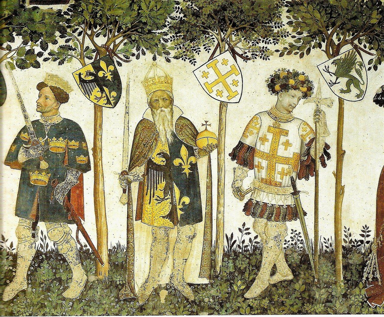 King_Arthur,Charlemagne,Godfrey_de_Bouilon__La_Manta.jpg