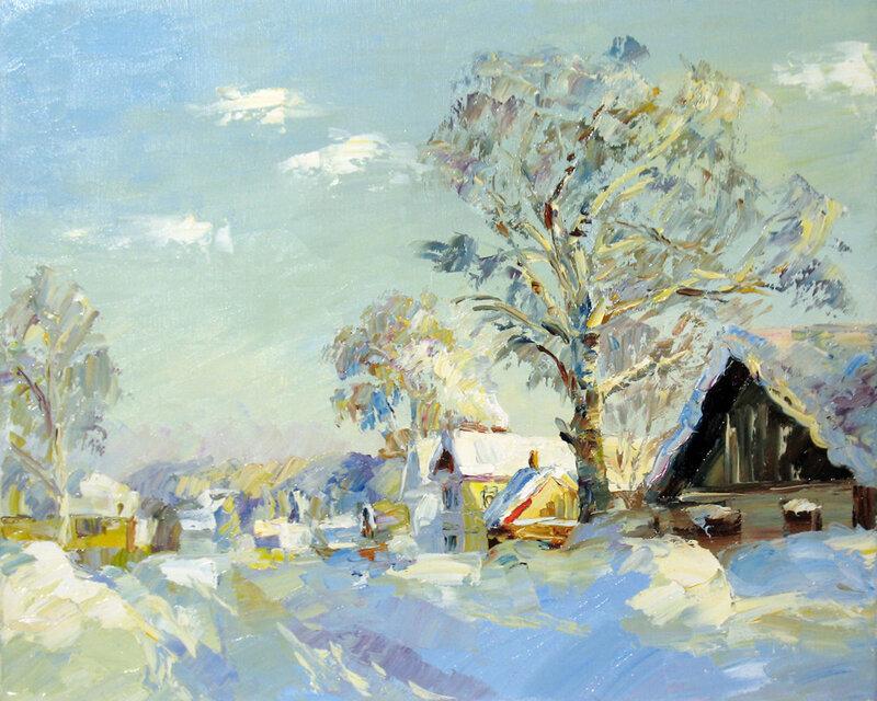 Artemis - продажа картины Зима в деревне.