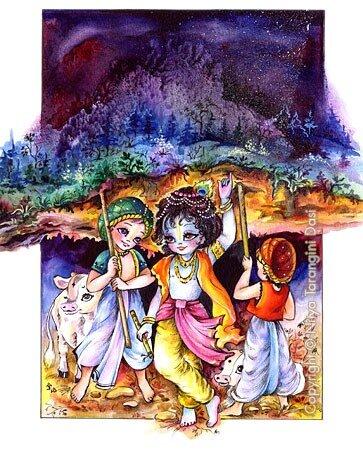 Индра, Говардхан, Кришна